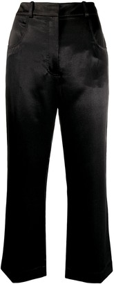 ALEXACHUNG Cropped Flared Leg Trousers