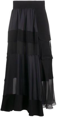 Sacai Sheer Patchwork Pleated Drop Waist Skirt