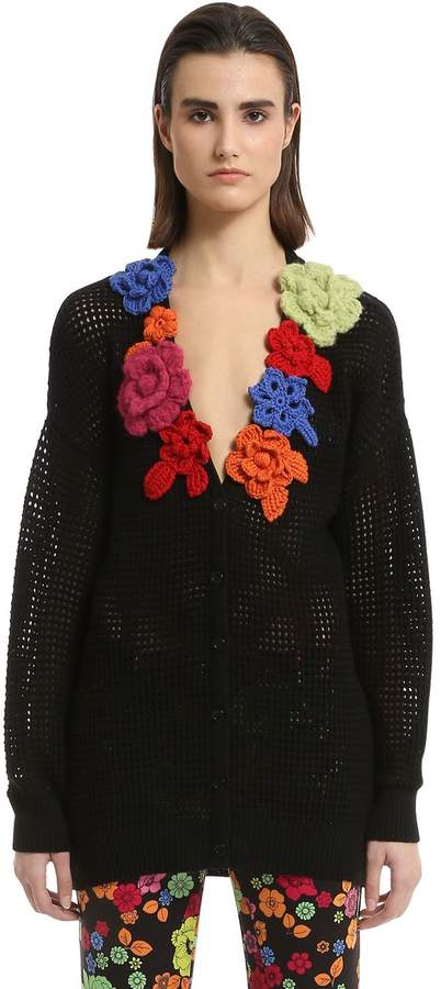Moschino Flower Appliqués Wool Open Knit Cardigan
