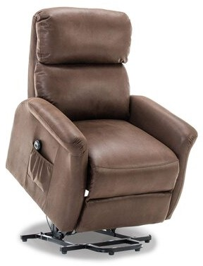 """Thumbnail for your product : Red Barrel Studio Durkee 32"""" Wide Power Lift Assist Standard Recliner Upholstery Color: Chocolate"""