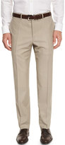Canali Sienna Contemporary Flat-Front Trousers, Stone