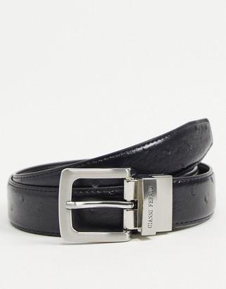 Gianni Feraud leather ostrich belt in black