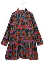 Caramel floral print shirt dress