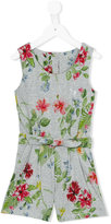 Lapin House - floral print playsuit - kids - Cotton/Spandex/Elastane - 6 yrs