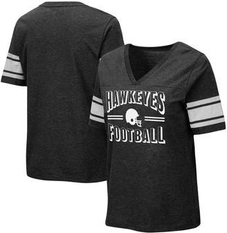 Colosseum Women's Heathered Black Iowa Hawkeyes Blue Blood Football V-Neck T-Shirt