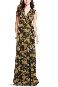 Aidan Mattox V-Neck Printed Maxi Dress