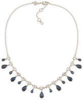 Carolee Silver-Tone Blue and Clear Dangle Crystal Collar Necklace