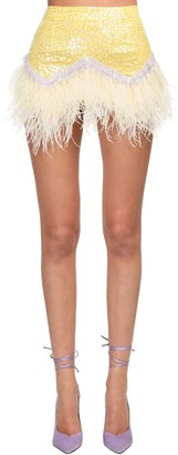 ATTICO Sequined Mini Skirt W/ Ostrich Feathers