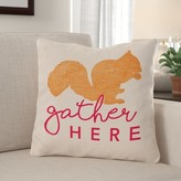 "Lieu Gather Here Squirrel Throw Pillow Red Barrel Studio Size: 16"" x 16"""