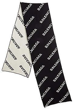 Balenciaga Men's Logo Wool Scarf