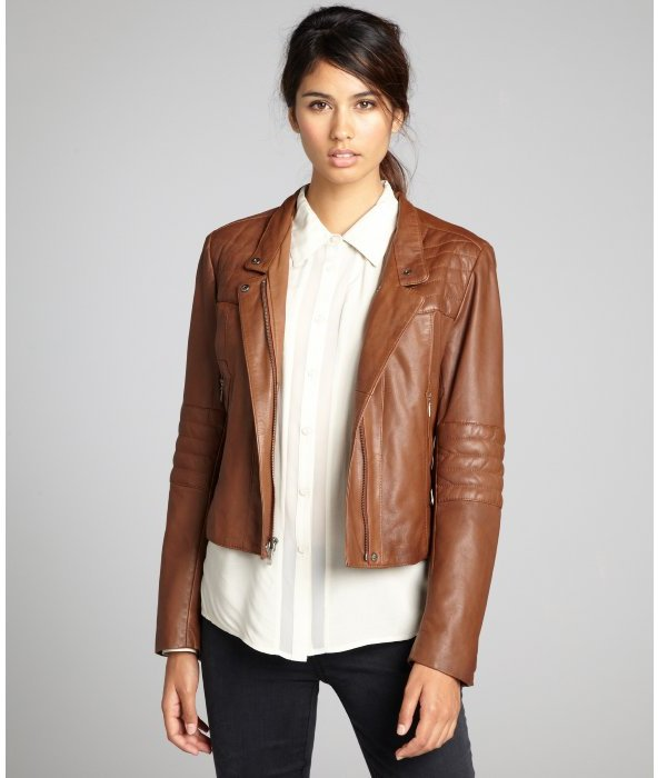 Cole Haan saddle leather stitch detailed zip moto jacket