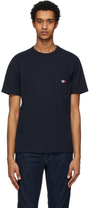MAISON KITSUNÉ Navy Tricolor Fox T-Shirt