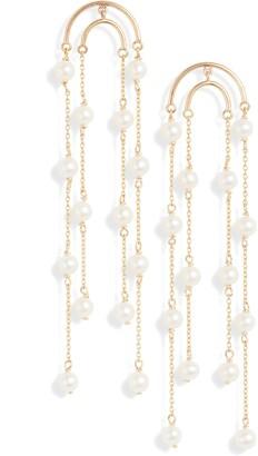 Poppy Finch Double Crescent Long Pearl Earrings