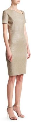 St. John Brielle Knit Asymmetric Neck Sequin Dress