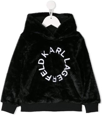 Karl Lagerfeld Paris Logo Printed Faux Fur Hoodie