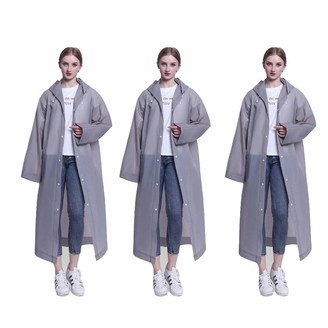 DXIA 3 Pack Reusable Rain Poncho Portable Waterproof EVA Material Resistant Unisex Raincoat with Drawstring Hood and Sleeves Perfect for Travel Festivals