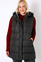 Yours Clothing Black Longline Padded Gilet With Faux Fur Trim Hood