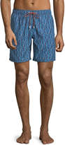 Bugatchi Abstract-Print Swim Shorts, Blue