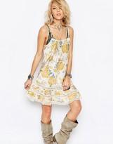 Free People Ruffle Row Print Slip Dress In Yellow Print