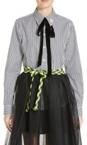 Marc Jacobs Women's Embellished Tie Neck Stripe Poplin Shirt