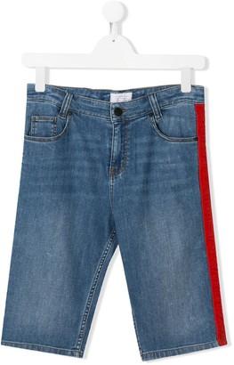 Givenchy Kids side stripe denim shorts