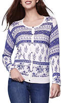 Yumi Floral Tile Knitted Cardigan, Ivory
