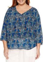 Liz Claiborne 3/4 Sleeve Peasant Top Plus