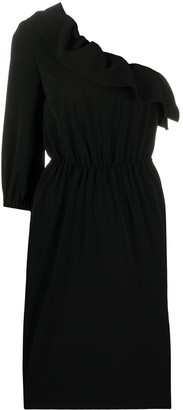 Boutique Moschino Ruffled Neck One Shoulder Dress