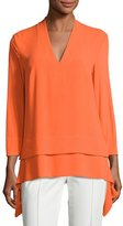 Escada 3/4-Sleeve V-Neck Layered Tunic
