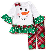Bonnie Jean Bonnie Baby Baby Girls Newborn-24 Months Christmas Snowman-Appliqued Dress and Plaid Leggings Set