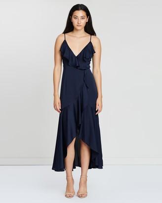 Shona Joy Women's Blue Midi Dresses - Luxe Bias Frill Wrap Dress - Size 12 at The Iconic