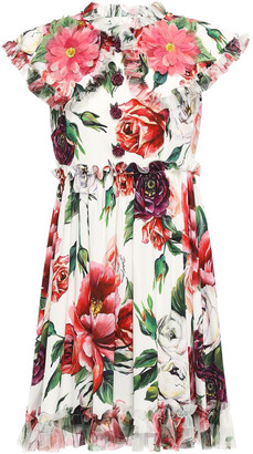 Dolce & Gabbana Button-embellished Appliqued Floral-print Stretch-crepe Mini Dress