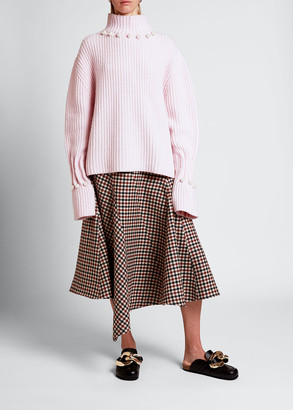 J.W.Anderson Wool-Cashmere Turtleneck Pearly Sweater