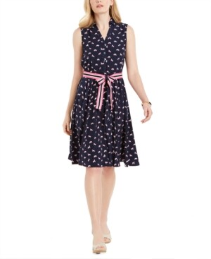 Charter Club Petite Horse-Print Belted Dress, Created for Macy's
