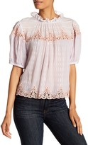 Rebecca Taylor Lace Inset Clipped Silk Blouse