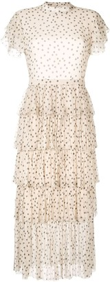 Isabella Collection polka dot tiered dress