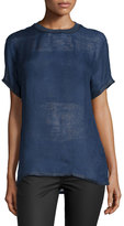 Versace Short-Sleeve Jewel-Neck Shirt, Navy
