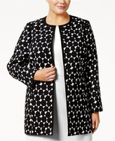 Kasper Plus Size Dot-Print Topper Jacket
