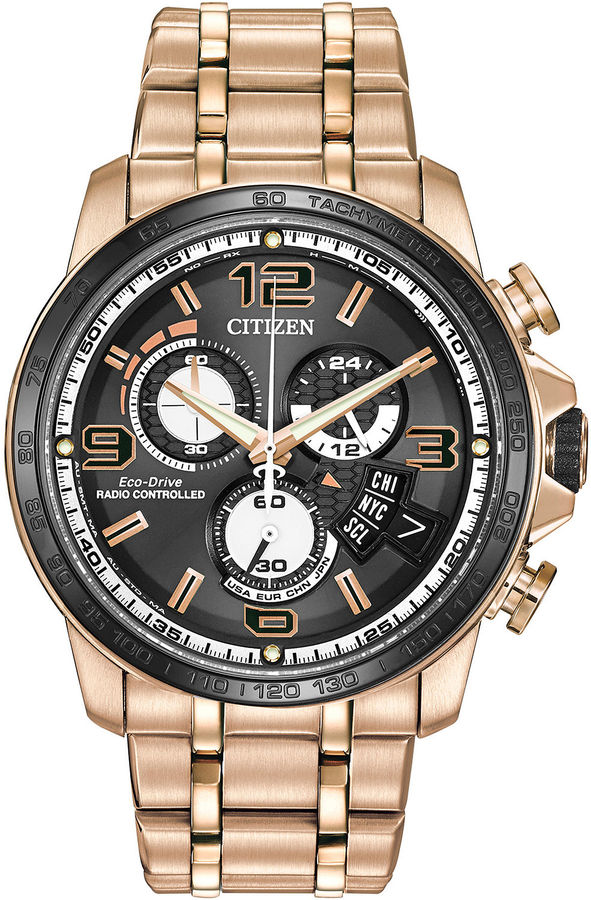 Citizen Eco-Drive Chrono Time A-T Mens Rose-Tone Watch BY0108-50E