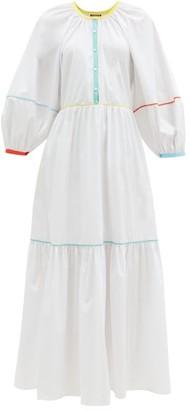 STAUD Demi Contrast-trim Cotton-blend Poplin Maxi Dress - White
