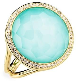 Ippolita Lollipop 18K Yellow Gold Diamond & Turquoise Ring