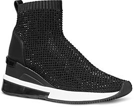 MICHAEL Michael Kors Women's Skylar Leather & Stretch Knit Booties