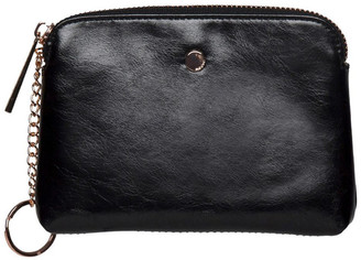 Mocha Sylvia Crinkled Patent Leather Coin Wallet - Black