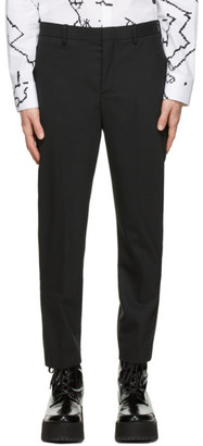 Neil Barrett Black Virgin Wool Stripe Detail Trousers