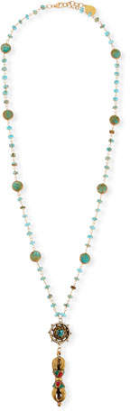 Devon Leigh Turquoise & Coral Long Pendant Necklace