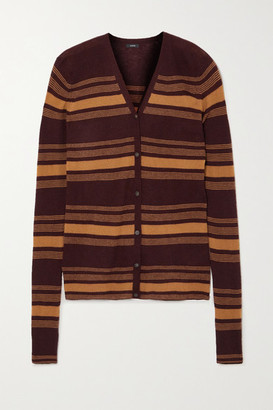 Joseph Striped Ribbed Cashmere Cardigan - Brown