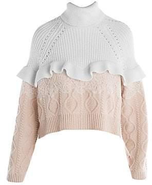 757f41b586c Fendi Women's Ruffle & Lace Cable Knit Turtleneck Sweater