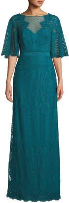 Tadashi Shoji Paxe Lace Flutter-Sleeve Gown