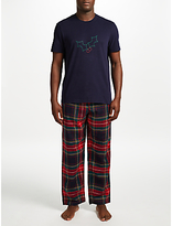 John Lewis Holly and Tartan Pyjama Gift Set, Blue/Multi