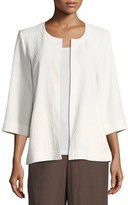 Eileen Fisher Double-Weave Crinkled Jacket, White, Petite